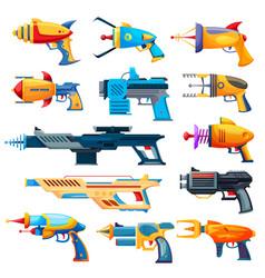 blaster guns cartoon handguns and rayguns vector image