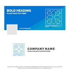 Blue business logo template for data vector