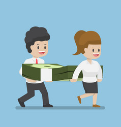 business people carrying pile dollars money vector image