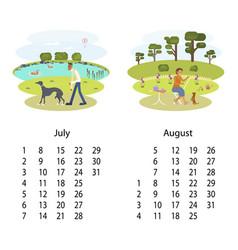 Calendar 2018 july august vector