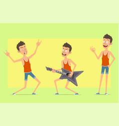 Cartoon flat funny sportsman character set vector