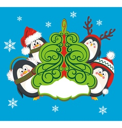Christmas card with cute penguins vector image