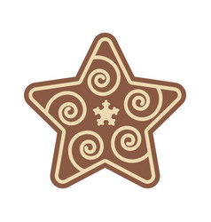 christmas star shape gingerbread flat design icon vector image