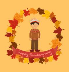 Circle autumn leaf thanksgiving indian boy vector