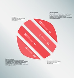 Circle template consists of four red parts on blue vector