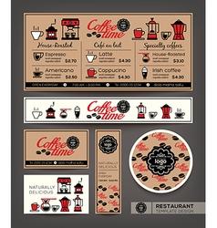 Coffee shop cafe set menu template vector image
