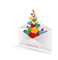 Colored hearts in the envelope vector image