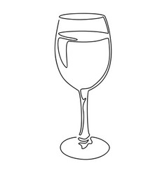 continuous line drawing glass wine vector image