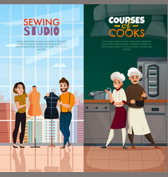 Cooks tailors banners set vector