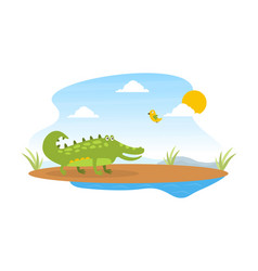 cute friendly crocodile and lovely bird on african vector image