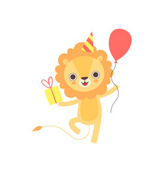 Cute lion wearing party hat with red balloon and vector