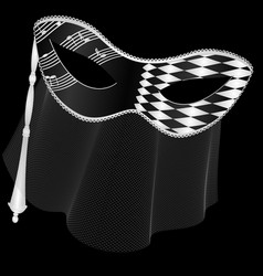 Dark and black white mask with veil vector