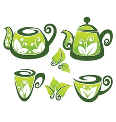 decorated teapot and cup in organic style vector image