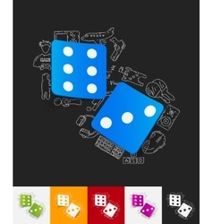 Dice paper sticker with hand drawn elements vector