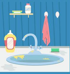 Dirty kitchen sink vector