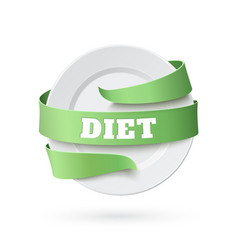 Empty plate with green ribbon around vector