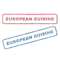 European cuisine textile stamps vector