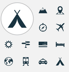Exploration icons set collection of sunny vector