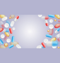 falling pills pharmaceutical background vector image
