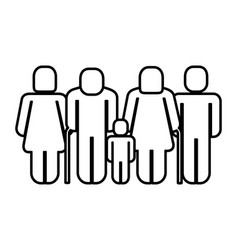 family figure with boy silhouette icon vector image