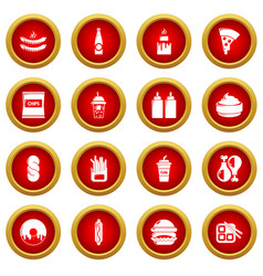 Fast food icons set simple style vector