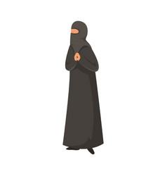 Female muslim in a traditional ethnic black niqab vector