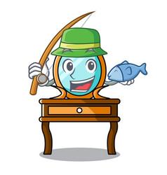 Fishing dressing table mascot cartoon vector