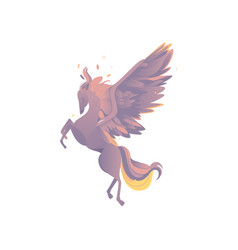 flat cartoom myhical pegasus isolated vector image
