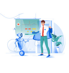 flat young man on robot diagnostics with heart vector image