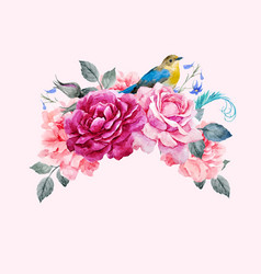 Floral composition with bird vector