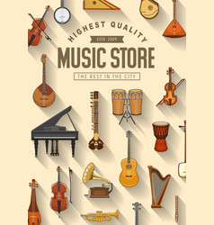 Folk jazz and classic music instruments store vector