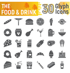 food and drink glyph icon set meal symbols vector image