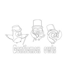 Funny owls gentlemen set on isolated background vector