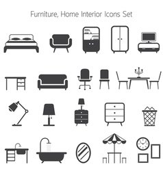 Furniture Mono Icons Set vector image