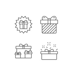 Gifts line icons present and surprise box vector