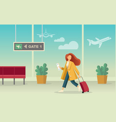girl with a suitcase at airport vector image