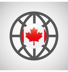 globe sphere flag canada country button graphic vector image