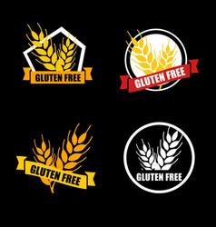 Gluten free set label intolerance circle vector
