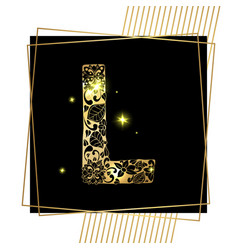 golden ornamental alphabet letter l font vector image