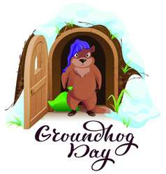 groundhog day an angry woodchuck left house and vector image