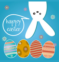 happy easter hanging bunny background vector image
