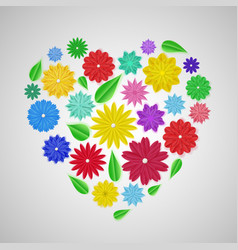 heart of paper flowers vector image