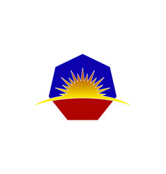 hexagon sunrise logo vector image