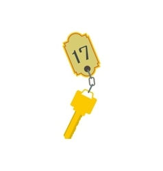Hotel key with a room number flat icon vector