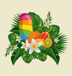 Ice lolly with exotic fruits in flowers and vector