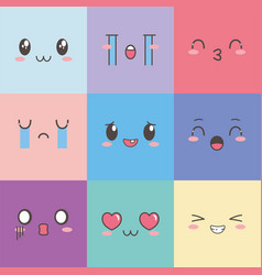 kawaii faces expression cartoon emoticon square vector image