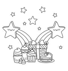 kawaii stars and happy birthday design vector image