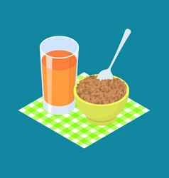 lentil porridge and fruit juice breakfast healthy vector image