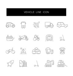 line icons set vehicle pack vector image
