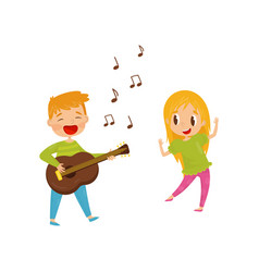 little boy playing guitar and singing girl vector image